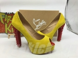 CL 14 cm yellow fish mouth sandals AAA
