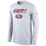 Men\'s San Francisco 49ers Nike White Legend Staff Practice Long Sleeves Performance T-Shirt