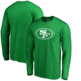 Men\'s San Francisco 49ers Pro Line by Fanatics Branded St Patrick\'s Day White Logo Long Sleeve T-Shirt - Kelly Green