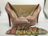 CL 14 cm nude patent leather fish mouth sandals AAA