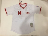 Mitchell And Ness Cincinnati Reds #14 Pete Rose White Commemorative Edition Stitched MLB Jersey