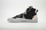 2019.10 Sacai x  Authentic Nike Blazer Mid  Black Grey Men And Women Shoes -LY(5)