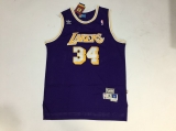 Mitchell And Ness Los Angeles Lakers #34 Shaquille O\'Neal Purple Stitched NBA Jersey
