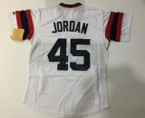 MLB Chicago White Sox #45 Michael Jordan Stitched White Throwback M&N Autographed Jersey